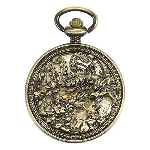 ManChDa Antique Automatique Mécanique Montre de poche Phoenix chanceux (meilleurs voeux) Squelette Chaîne + Boîte-cadeau