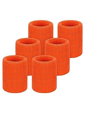 Willbond 6 Pièces Serre-Poignets Bracelets Poignet pour Sports Sweatbands Absorbants pour le Foot-Ball Basket-Ball, Sport Athlétique Fonctionnement (Orange)