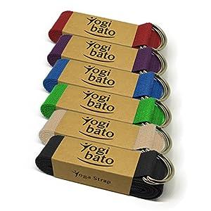 Yogibato Yoga-Gurt | 240 x 3,8 cm | 100% Baumwolle – stabile Metallringe zur flexiblen Größenverstellung – Yoga-Band