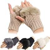Women Winter Fingerless Gloves Warm Knitted Hand Wrist Faux Rabbit Fur/Villi Gloves for Ladies New Warmer Mitten