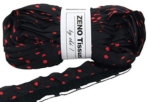Laine ruban froufrou oke zeno tissus 100g - Noir Pois Rouge