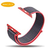 Cellfather™ Woven Nylon Sports Strap for iWatch Series 1,2,3 (42mm) Electric Pink