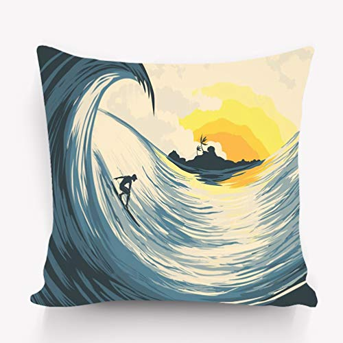 btyi7yos Taies d'oreillers Pillow Case Tropical Island Wave Surfer Paintings Rainbow 18 * 18 inch