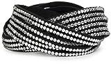 styleBREAKER weiches Strass Armband, eleganter Armschmuck mit Strassteinen, Wickelarmband, 6x1-Reihig, Damen 05040005, Farbe:Schwarz / Klar