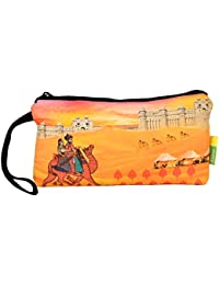 Eco Corner - Indian Art Camel - Pouch - Small - 100% Cotton / Washable / Printed On Both Sides / Zip Closure With...
