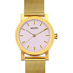 MEDOTA Stainless Steel Waterproof Watch Minimalist Umbra Series Swiss Watch Quartz Womens Watch - No. 21304 (Gold)