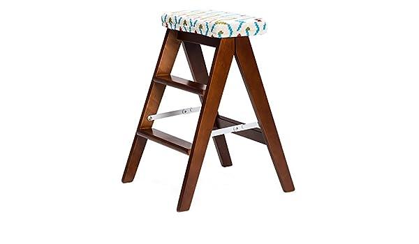Civilweaeu sgabello pieghevole in legno massello scaletta