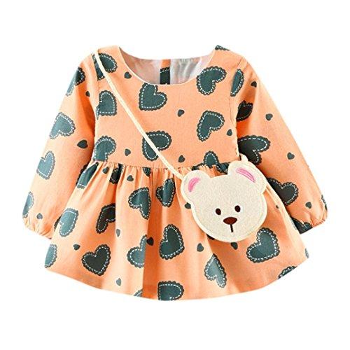 ZIYOU Kleider Niedlich Baby Mädchen Drucken Prinzessin Dress + Kleine Tasche (18M, (1950 Niedlich Kostüme)