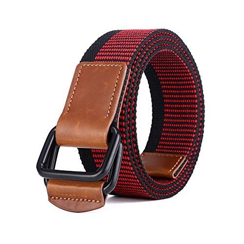 MIJIU Herren Gürtel Gr. 119,38 cm lang, schwarz/rot (Black Woven Belt Leather)