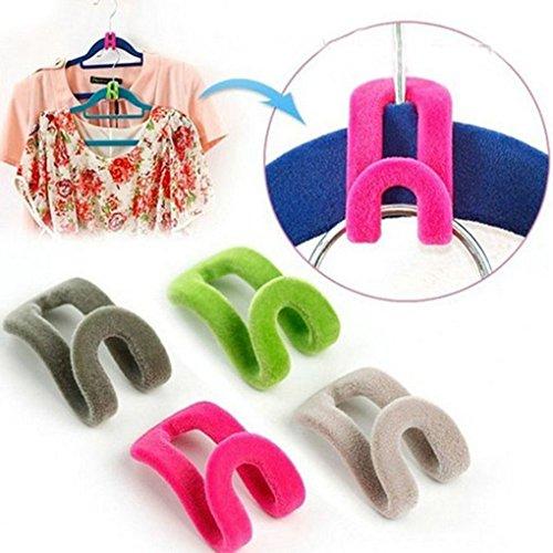 Aulley 10Pcs / Lot mini Beflockung kleidet Aufhänger-einfaches Haken-Schrank-Organisator kleidet Aufhänger-Farbe gelegentlich