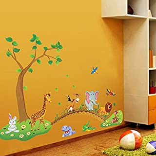 SUPEWOLD 90x140CM Cartoon Kid Tree Animal Wall Decals Removable Wall Decor Decorative Painting Supplies And Wall Treatments Stickers Living Room Bedroom (3D Effects)(90x140cm,picture color)