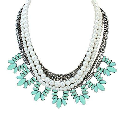 Epinki Damen Kette, Halskette Damenkette Anhänger Mehrschichtig Vieleck Stein Perle Hell Blau 42 (5 0 Kostüme Hawaii)