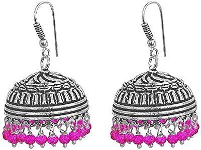 Rosa pendientes de cristal, templo joyería india plata jhumkas-large Jhumki gitana tribal joyería por silvesto India pg-28390