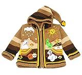Sunny Times - Kinderstrickjacke aus Peru, Jacke mit Kapuze und Reißverschluss für Babys und Kinder, Weich und Warm, Freizeit oder Anlässe, Größe 62 bis 116, Handgefertigt, verschiedene Farben