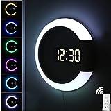 LED-lampa väggklocka, kreativ fjärrkontroll digital klocka ihålig spegel temperatur larm 7 färgbyte ring nattlampa för hem ko