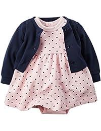Carter-Baby Mädchen-Kleid mit Body- und Veste-Kleid 100% Baumwolle - VesteBaumwolle Jersey