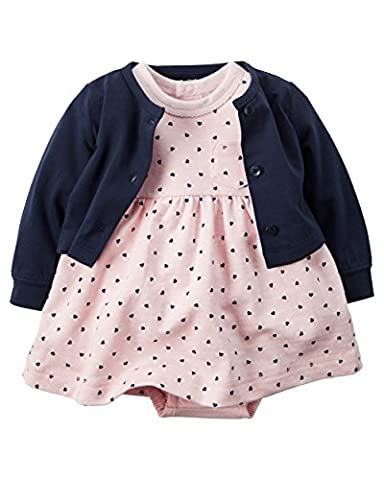 CARTER'S Baby Girl Dress with attached Bodysuit and Cardigan Sweater Set-100% Cotton