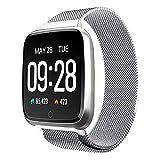 TPulling Mode Y7 Farbdisplay Armbanduhr Große Batteriekapazität Metall Heartrate Tracker Wasserdicht IP67 Edelstahlarmband Armband Bluetooth Smart Multi Sportuhr (Silber)