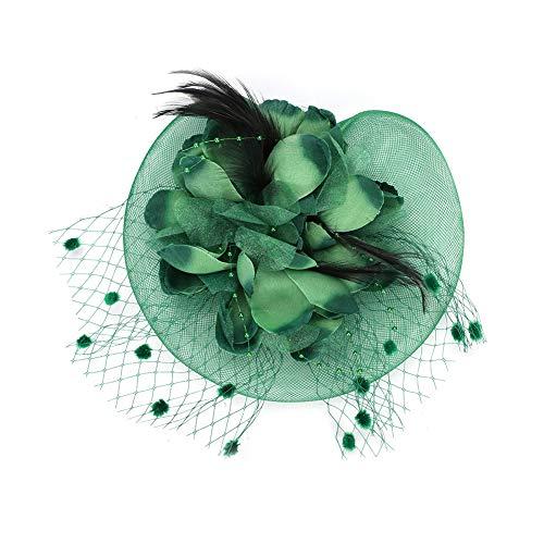 Fascinator elegant modisch für Braut Hochzeit Weihnachten Halloween Kostüm Bankett Karneval Fasching Royal Kopfschmuck hut aus Mesh mit Federn vintage Schleier Mädchen Frauen Damen Headwear klein