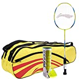 #8: Li-Ning G Force 2600 with kitbag and Shuttlecock Combo (Li-Ning G Force Strung Badminton Racquet + ABDJ118 Kit Bag + Mavis 200I pack of 6 Shuttlecock) - Yellow with Mavis 200I