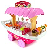 #7: Kp Sales Battery Operated Ice Cream Trolley Set For Kids Pretend Roll Play With LED Lights & Music For 3+ Age