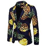 Sannysis Lässiger Blazer Herren Slim Fit Charm Männer Casual 1 Button Fit Anzug Blazer Mantel Jacke Ananas Bedruckt Top Suits