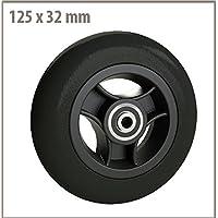 Rad mit Felge aus Kunststoff Gummi schwarz 125x 32mm