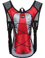 EGOGO 5L ultraligera Unisex al aire libre senderismo escalada deportes equitación paquete viaje montaña hidratación bolsa de agua hidratación mochila de senderismo (Rojo)