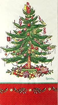 spxr16g Red Border 16 Ct Spode Christmas Tree Paper Dinner Napkins / Guest Towels