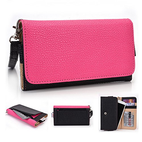 Kroo Housse de transport Dragonne Étui portefeuille pour Amazon Fire Phone violet Magenta and Black