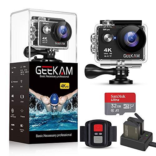 GeeKam Action Cam 4K / 30fps 16MP WiFi wasserdichte Unterwasser Kamera 170 ° Weitwinkel mit 32 GB TF Karten Fernbedienung 2 * 1050mAhBatterien und Helmzubehör-Kits