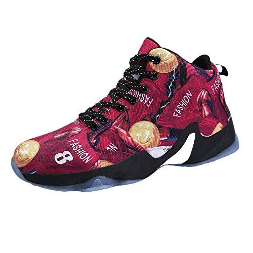 Dorical Herren Basketballschuhe Sneakers Ausbildung Outdoor Turnschuhe Herren Laufschuhe Sportschuhe Trainers Running Fitness Atmungsaktiv Sneakers Fitness Laufschuhe(Rot,39 EU)