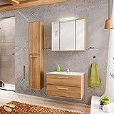Lomadox Badezimmer Möbel Set ● Wotaneiche Holzoptik ● 80cm Waschtisch-Unterschrank mit Keramik-Waschbecken ● Hochschrank, 3D LED Spiegelschrank ● Softclose Türen und Schubladen