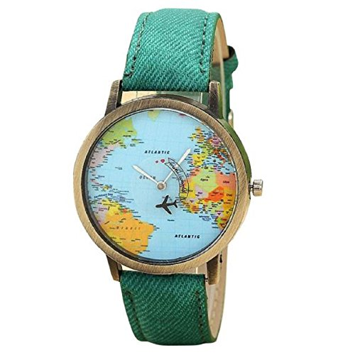 KanLin Mujer Reloj de Casual, banda de tela de denim, Global Fly mapa marcar (Verde)