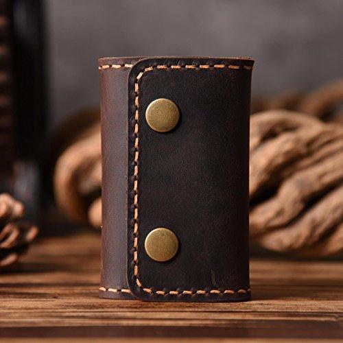 Die Retro Bag Designer handgefertigten Lederwaren Leder Herren pure leder taille Schlüssel Tasche New dark coffee-no hook