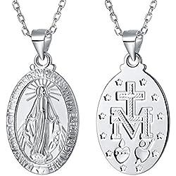 """FaithHeart Collier en Argent 925 Pendentif Initial avec Médaille de la Vierge Marie Plagué Platine Chaîne 18""""/46cm pour Homme et Femme"""