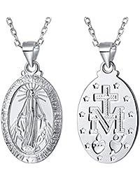 60d6ddc5d3e2 FaithHeart - Medalla Milagrosa de Santa Virgen María Collar Colgante  Encanto Joyería de Cadena Ajustable para
