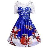VEMOW Weihnachtsfeier Elegantes Kleid Damen Spitze Kurzarm Weihnachten Schnee Druck Lässig Täglich Einzigartiges Design Vintage Swing Kleid(X1-a-Blau, EU-42/CN-XL)