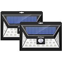 [2 pezzi] Luci Solari Mpow 24LED Luce Solare IP65 Impermeabile, 3 Modalità Funzione, 400LM Illuminazione Giardino Solare, Lampada Solare con Sensore di Movimento, da Esterni per Parete, Muro, Giardino, Terrazzino, Cortile, Casa, Corraio ecc