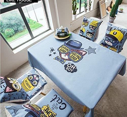 BMY Zuhause 100 * 140cm blau Kitty Katze Cartoon Kind Kind skandinavisch ins Tischdecke Baumwolle Leinen Esstisch Garten rechteckig quadratisch Nicht bügeln umweltfreundliche Tischläufer -