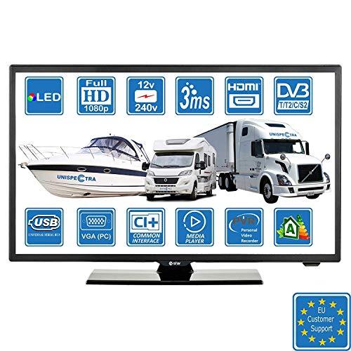 Wohnmobile Wohnwagen Camping Boot 12 Volt 22 Zoll 56 cm LED Digitales Full HD Fernseher DVB-T2/C/S2 TV, Kabel, Satellit TV. 12V 230V USB PVR & Multimedia-Spieler, VGA & HDMI PC-Monitor (for EU)