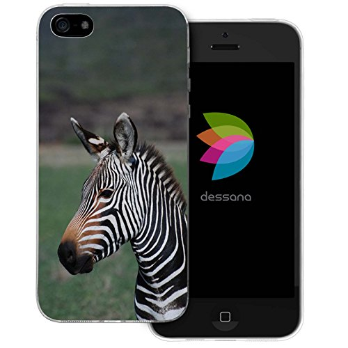 dessana Afrika Safari transparente Silikon TPU Schutzhülle 0,7mm dünne Handy Tasche Soft Case für Apple iPhone 5/5S/SE Zebra Portrait -