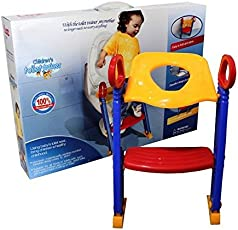 Baby Grow Potty Toilet Seat with Step Stool ladder, (3 in 1) Trainer for Kids Toddlers W/Handles