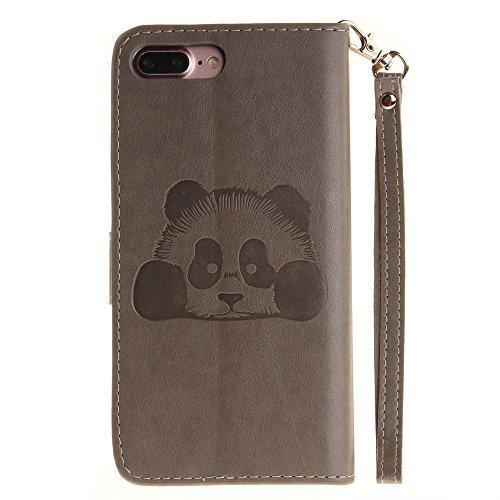 iPhone Case Cover Solid Color 3D Cute Panda Embossed Housse en cuir PU avec Lanyand Card Slots pour IPhone 7 Plus ( Color : 9 , Size : IPhone 7 Plus ) 3