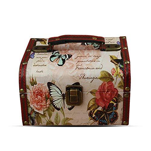 FOONEE Vintage Holzschatztruhe Dekorative Aufbewahrungsbox mit Griff, Andenken Box Schmuck Schmuckkästchen für Kinder Mädchen Frauen Geschenke und Dekoration zu Hause weiß