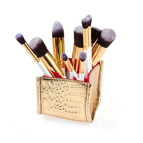 Saingace 10pcs Cosmétique de Maquillage Brosse Brosses Brosse Fard à Joues de Fard à Paupières Anticernes Ensemble/Blanc