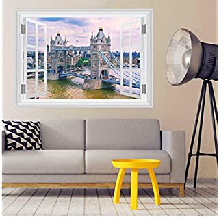 Tower Bridge Wall Stickers Home Decor Living Room 3D Window Architectural Landscape Wall Decals Art Mural Posters