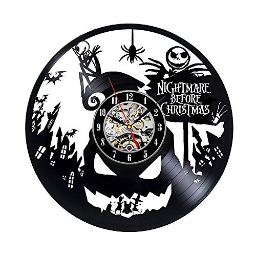 OLILEIO Disco de Vinilo Reloj de Pared Pesadilla Antes de Navidad Música Arte de la guardería CD Reloj Reloj Creativo Duvar Saati Horloge Decorativo para el hogar