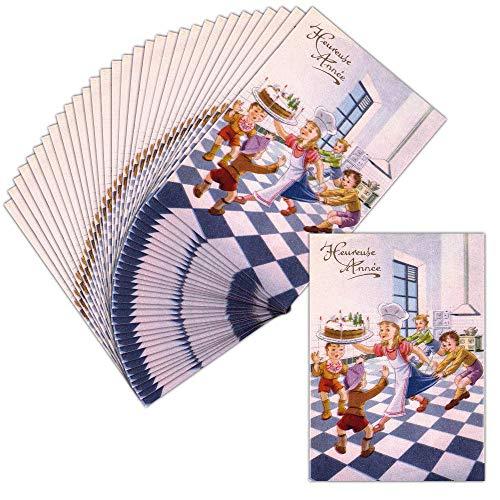 Glückwunschkarte Gutschein - 32 Exemplaires - Karte Illustriert Le Gâteau de la Bonne Jahr 2019 - erhältlich in 4 Formaten. Carte non pliée - 14 cm x 19,5 cm