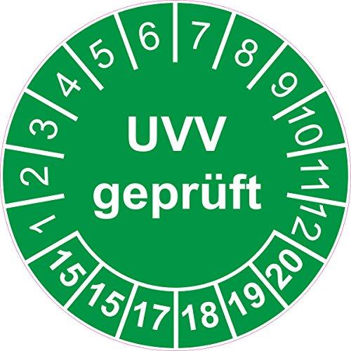 Prüfplakette / Prüfetikett / Prüfaufkleber 30 mm Durchmesser selbstklebend grün 50 Stück - 'UVV geprüft' - 2015-2020